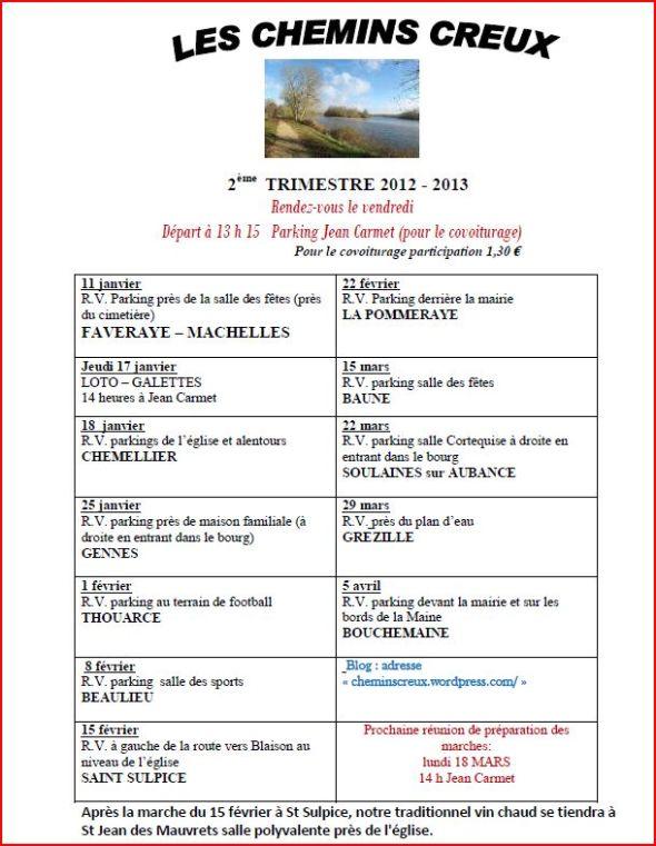 Programme des marches 2ème trimestre 2012