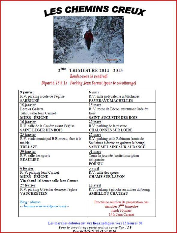 Programme des marches 2ème trimestre 2014-2015