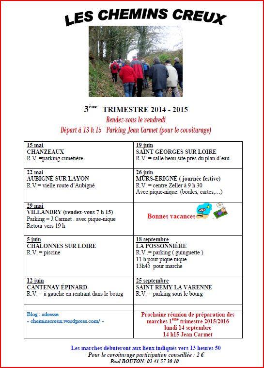Programme des marches du troisième trimestre
