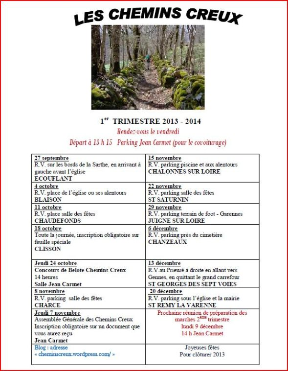 Programme marches 1er trimestre 2013-2014